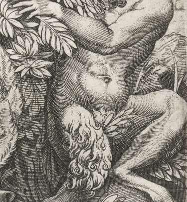 Detail van een saterprent van Marcantonio Raimondi (16e eeuw)